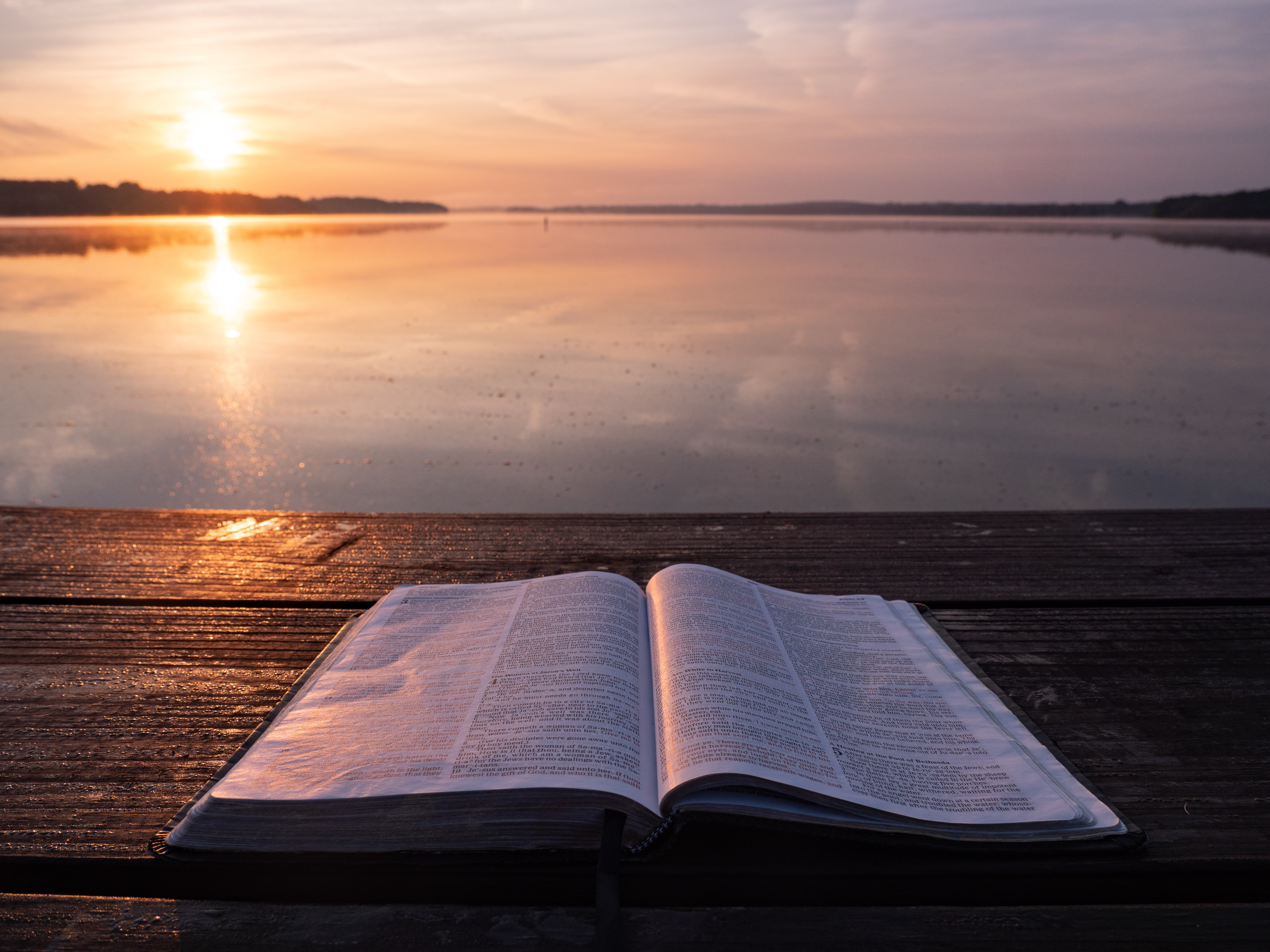 bible open by water